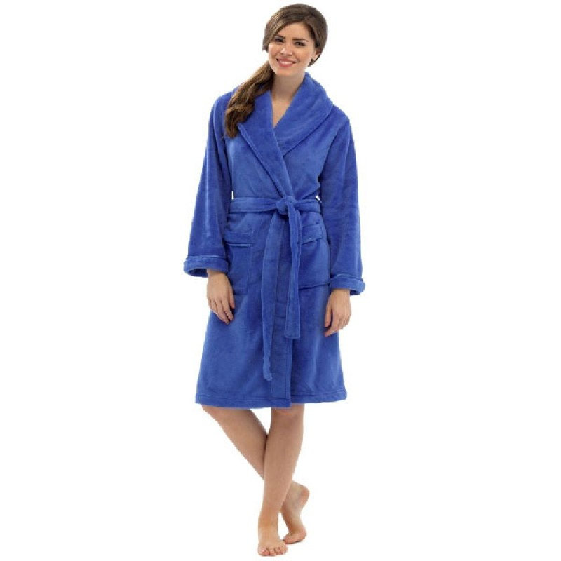 Tom Franks Ladies Dressing Gown Fleece Robe with Front Pockets and ...