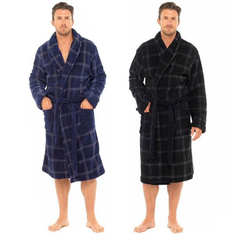 Tom Franks Mens Supersoft Housecoat Fleece Bath Robe Dressing Gown ...