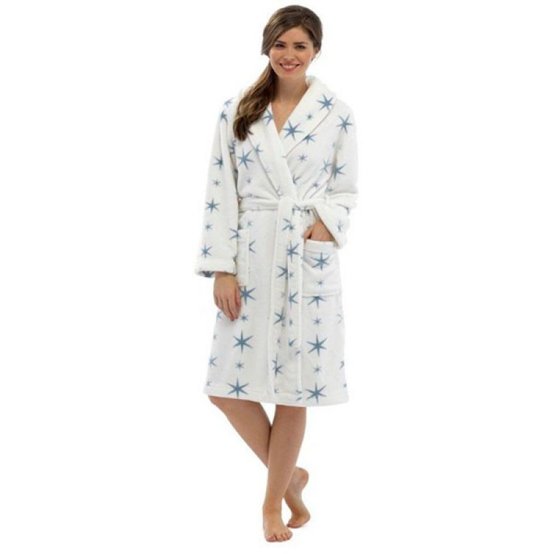 Tom Franks Ladies Soft Fleece Dressing Gown Women with Pockets ...