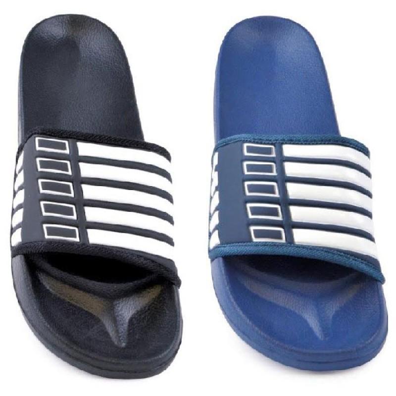 purchase authentic enjoy cheap price top-rated official Lloytron Men Flip Flop Stripe Design Slippers Beachwear Black Blue Sandals  Summer FT866