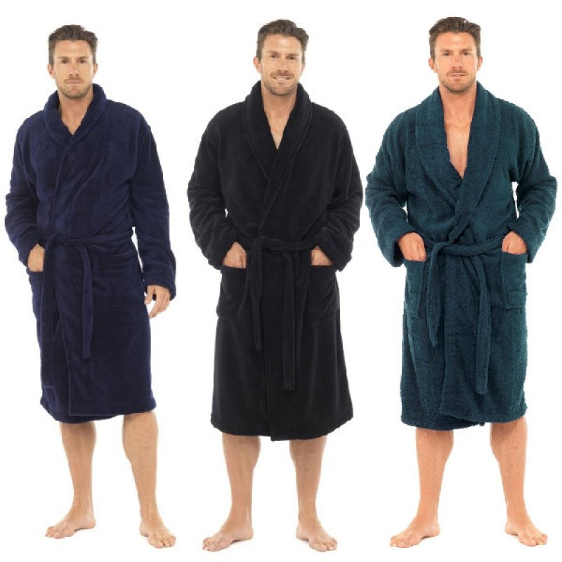 Tom Franks Men Dressing Gown Fleece Robe with Front Pockets and ...